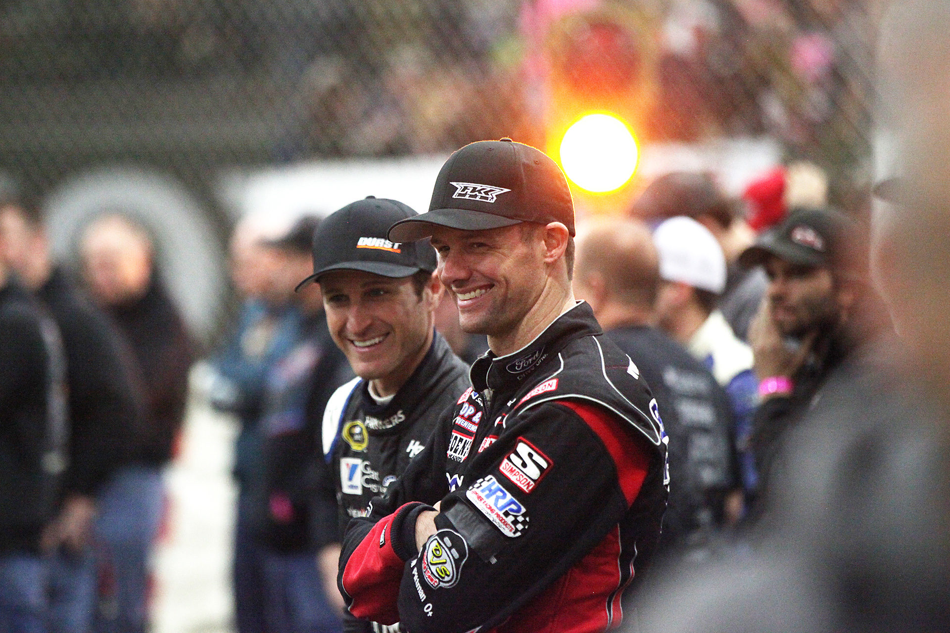 Daryn Pittman and Kasey Kahne share a laugh at The 2016 Chili Bowl in Tulsa, Oklahoma.( Jeffrey Turford / TDP )