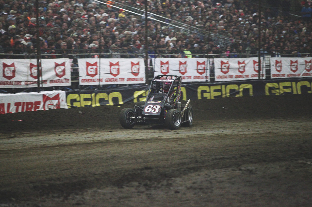 Bryan Clauson looked dominant for most of the night before relinquishing the lead to Rico Abreu. ( Jeffrey Turford / TDP )