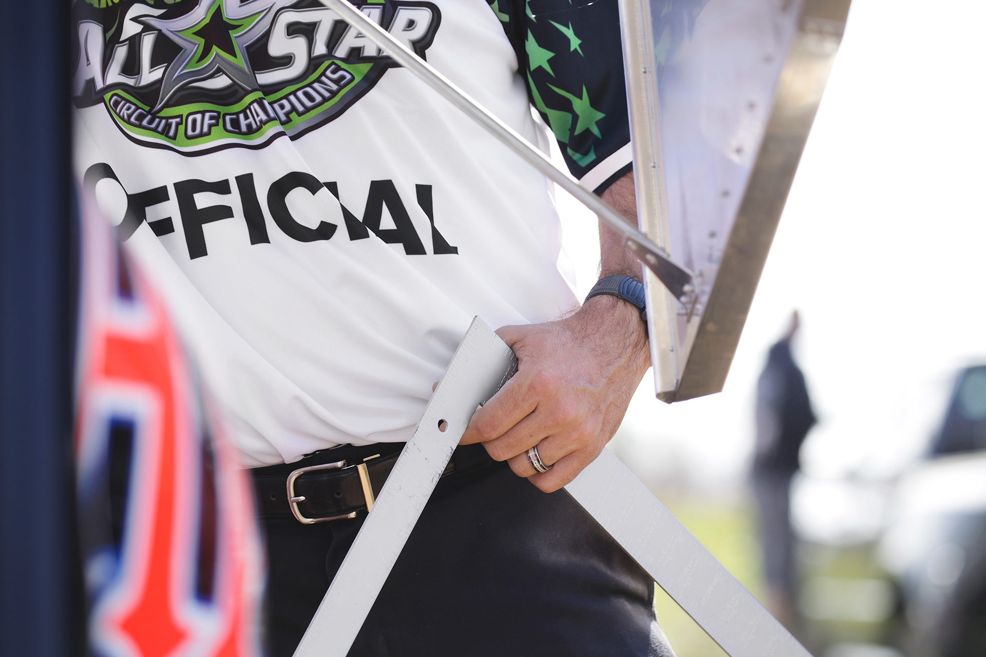 Artic Cat All Star Circuit of Champions official checks the compliance at Selinsgrove Speedway. ( Jeffrey Turford / TDP )