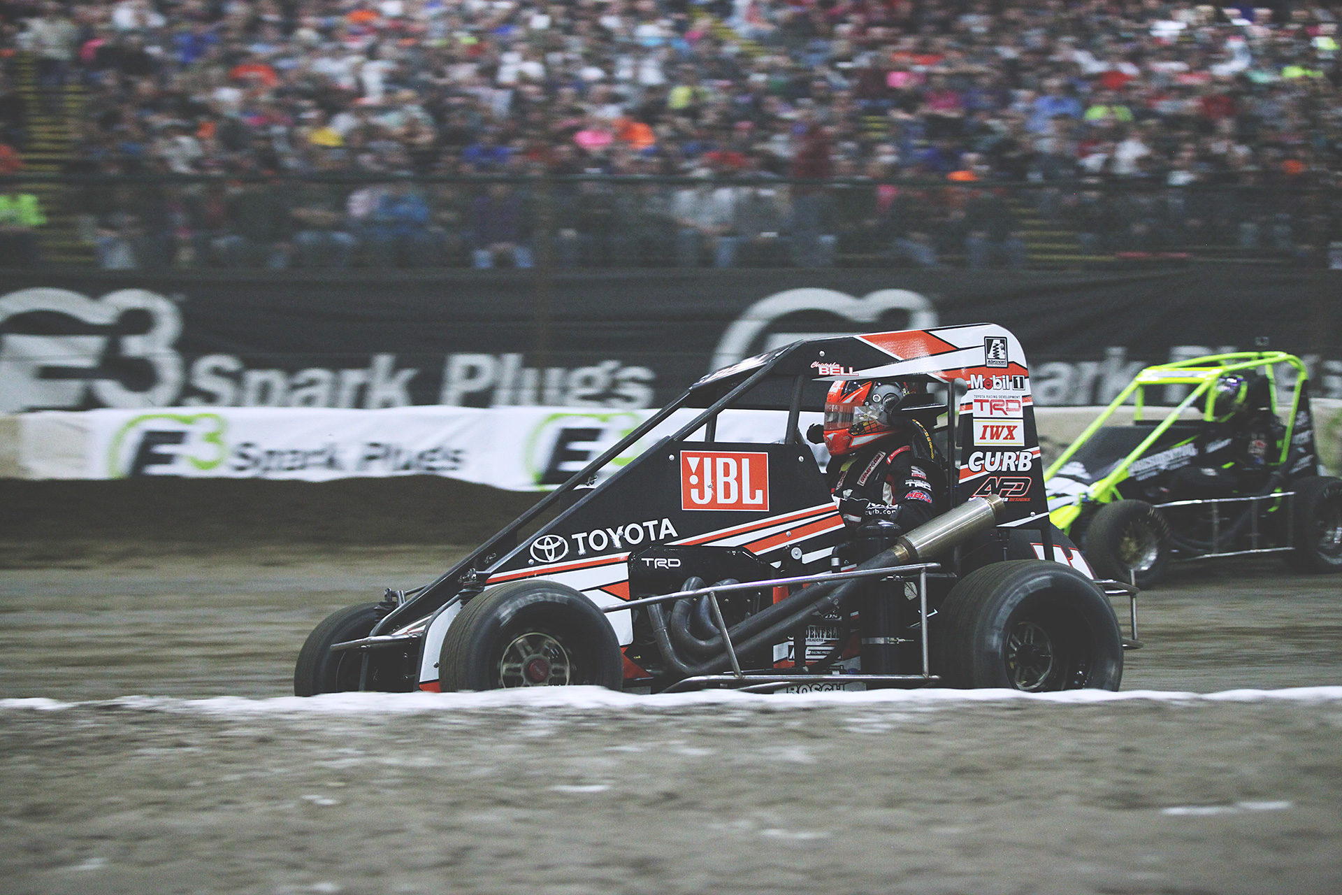 Toyota Keith Kunz Racing driver; Christopher Bell angles for position in his 360 Midget running the 2016 Chili Bowl. ( Jeffrey Turford / TDP )