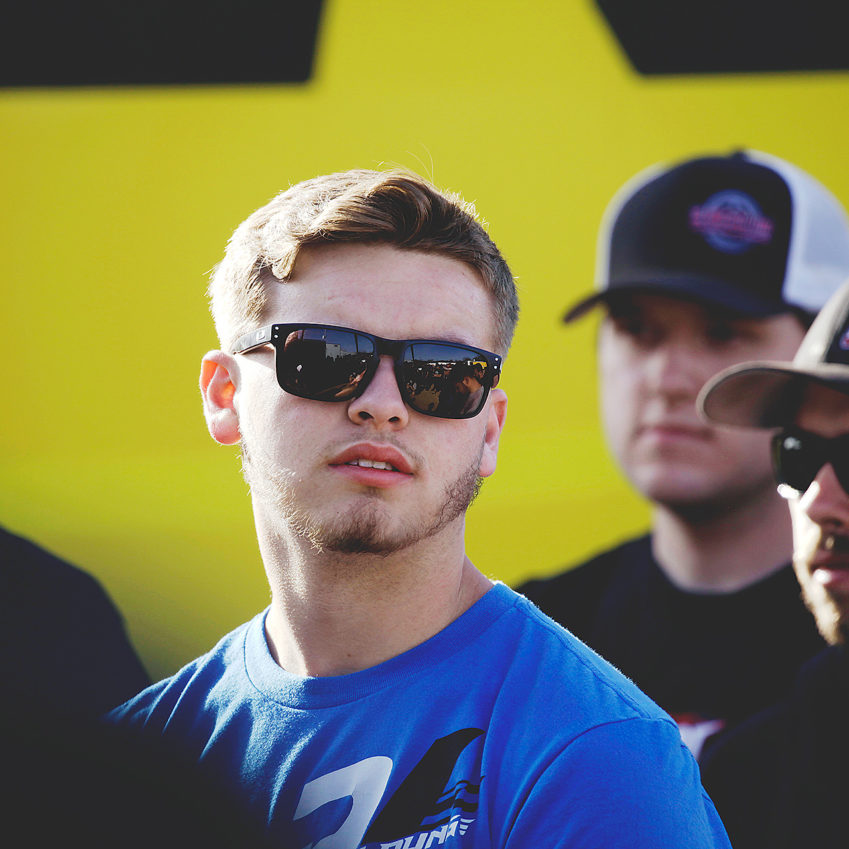 T.J. Michael stays relaxed during the driver's meeting at Selinsgrove Speedway. He would finish 14th at The Arctic Cat All Star Circuit of Champions event main Feature, that evening. ( Jeffrey Turford / TDP )