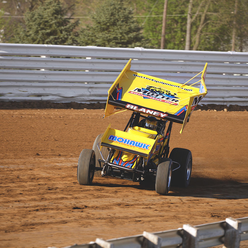 Dave Blaney pushes the car beyond its physical limits during qualifying at Selinsgrove Speedway for the Arctic Cat All Star Circuit of Champions event in 2016. ( Jeffrey Turford / TDP )