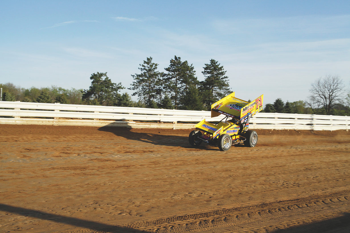 Dave Blaney led most of the All Star A Feature at Selinsgrove on Sunday before relinquishing the lead to Danny Dietrich with 1 lap to go. ( Jeffrey Turford / TDP )