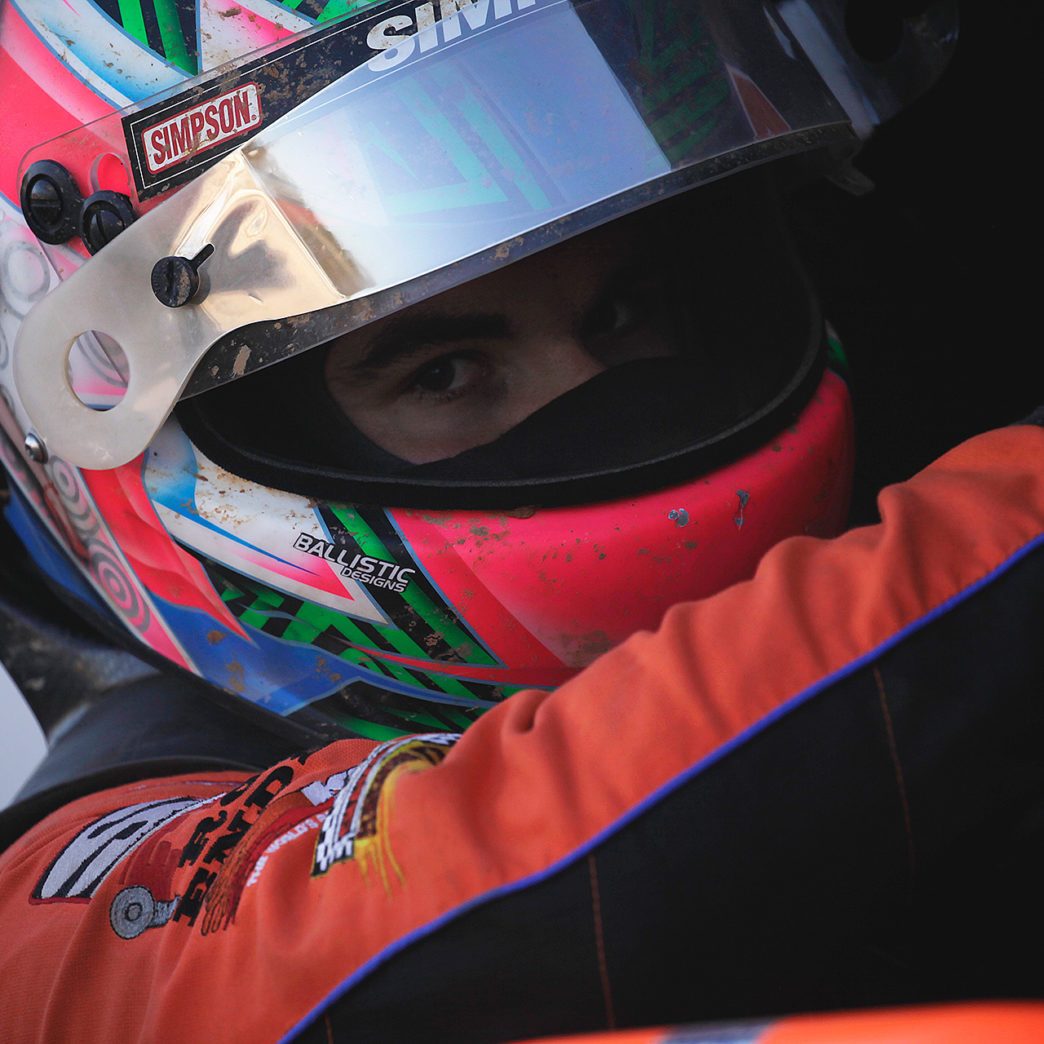 Cap Henry climbs into the car for The Arctic Cat All Stars Circuit of Champions dash at Selinsgrove Speedway 2016. He went on to place 15th during the Feature that Sunday Evening.( Jeffrey Turford / TDP )