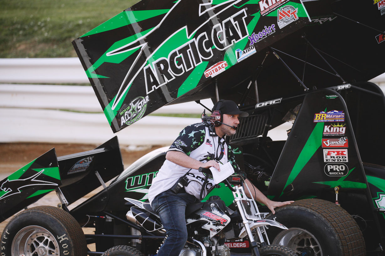 Tony Stewart officiating at Selinsgrove Speedway in Pennsylvania during the Arctic Cat All Stars Circuit of Champions sanctioned event in 2016. ( Jeffrey Turford / TDP )
