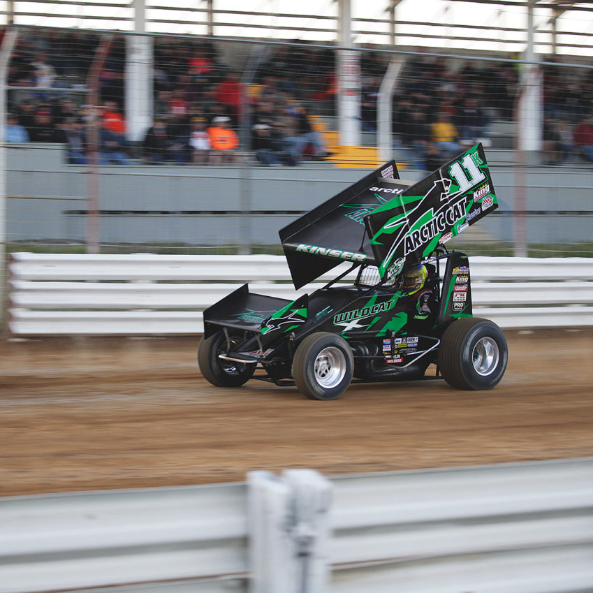 Kraig Kinser chases Dave Blaney during the 3rd Heat race at The All Stars Circuit of Champions race at Selinsgrove Speedway, PA 2016. ( Jeffrey Turford / TDP )