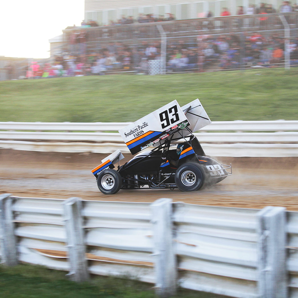 Sheldon Haudenschild qualifying for the All Stars race at Selinsgrove Speedway, Sunday evening 2016. ( Jeffrey Turford / TDP )