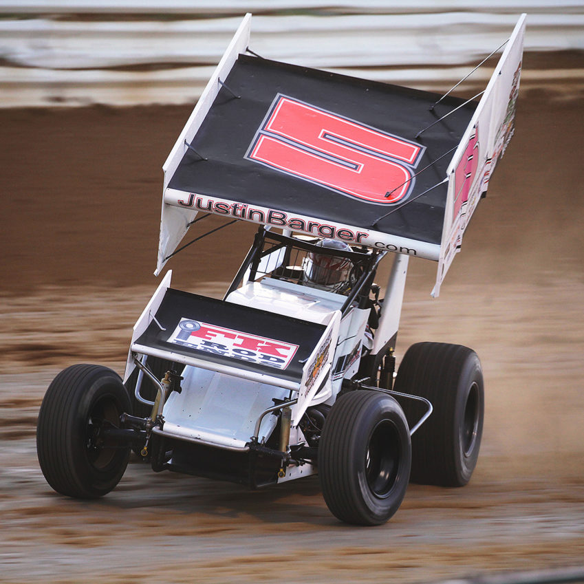 no.5; Justin Barger on the gas through turn 1 at Selinsgrove Speedway–Sunday evening, 2016. ( Jeffrey Turford / TDP )