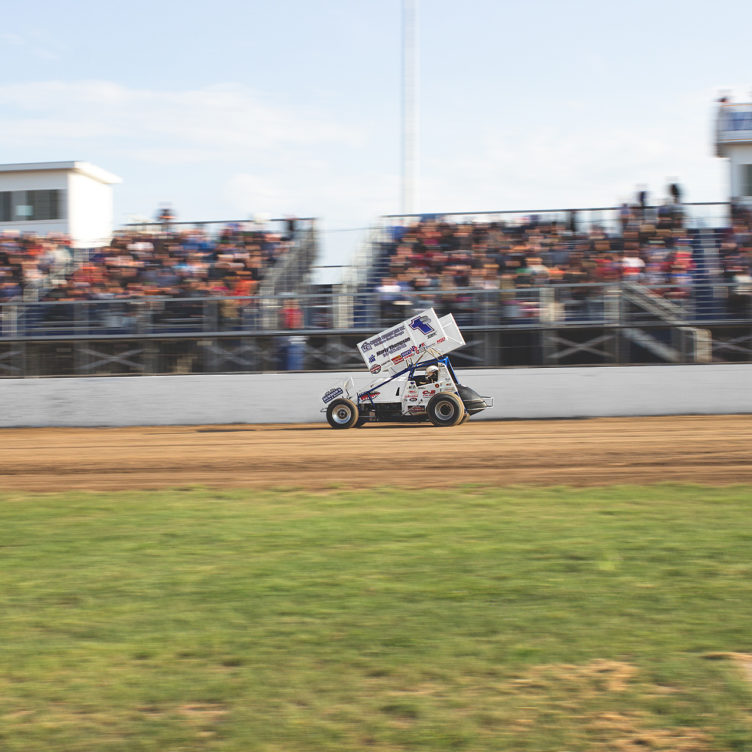 Logan Schuchart qualifying at Weedsport Speedway. He qualified 3rd and finished 2nd in the feature. ( Jeffrey Turford / TDP )