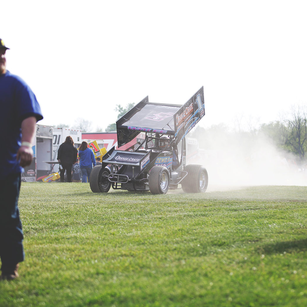 Lucas Wolfe puts heat in the motor is preparation for The Craftsman World of Outlaws series race at Weedsport where he would later finish 14th in Feature.( Jeffrey Turford / TDP )
