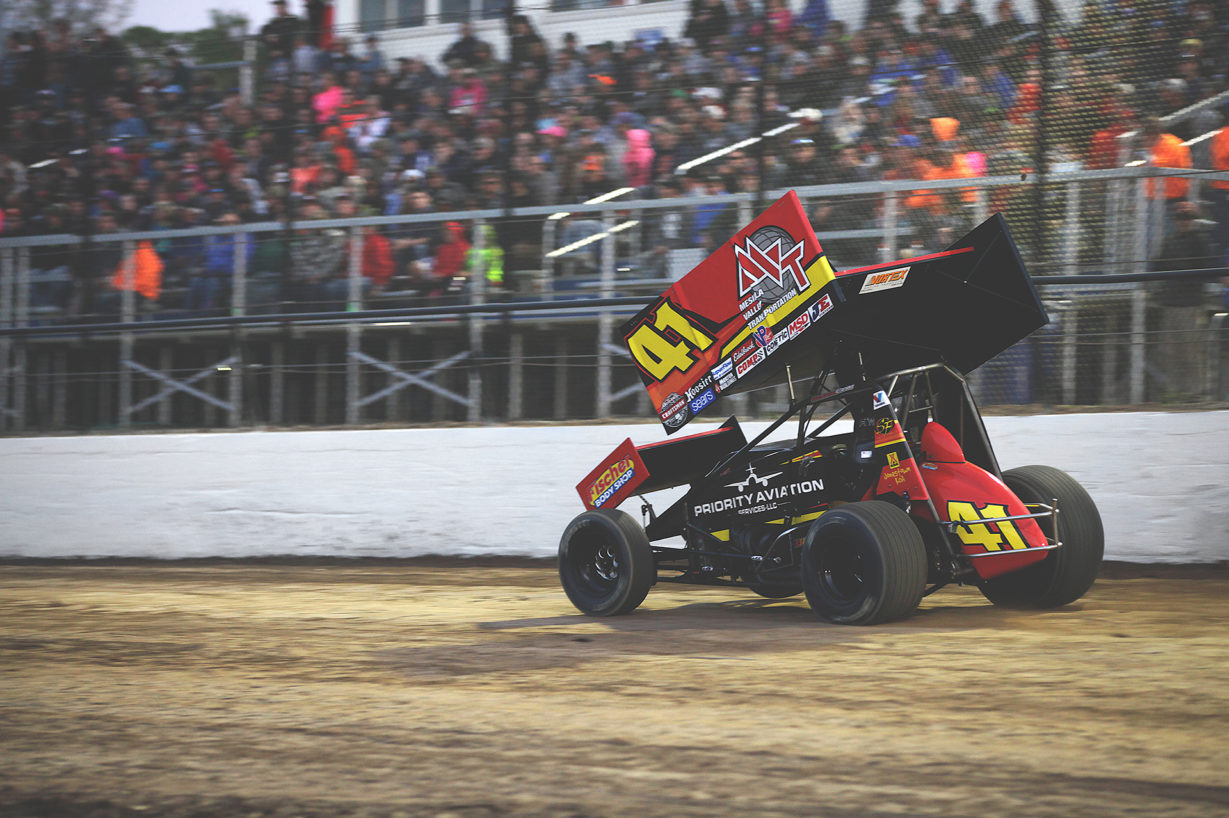 Jason Johnson finishes 5th in his heat to transfer to The World of Outlaws A-Feature where he would place a strong 9th place. ( Jeffrey Turford / TDP )