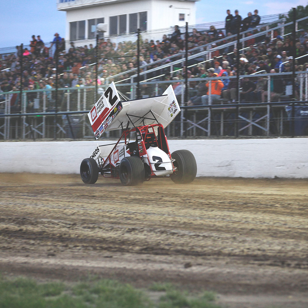 No. 2; Shane Stewart on the gas down the front stretch during heat race action with The World of Outlaws at Weedsport Speedway. ( Jeffrey Turford / TDP )