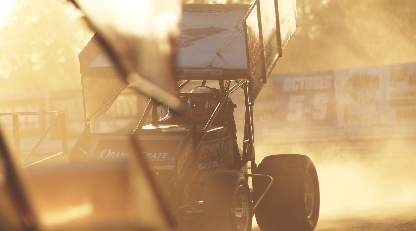 Lucas Wolfe puts heat in the motor at Volusia Speedway in Florida. (Jeffrey Turford / TDP)