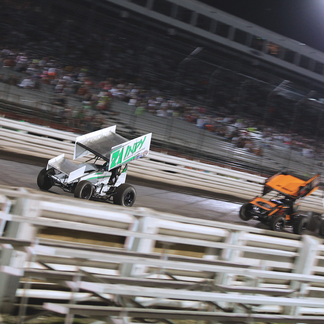 Contact between Ian Madsen and Shane Stewart resulted in an 11 car pile up during the Saturday night feature at Knoxville Speedway with The World of Outlaws. ( Jeffrey Turford / TDP )