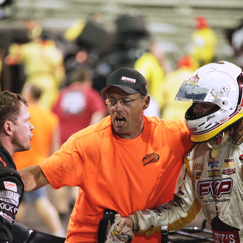Things got heated between Shane Stewart and Brian Brown following one of the biggest wrecks in World of Outlaws history at Knoxville. ( Jeffrey Turford / TDP )