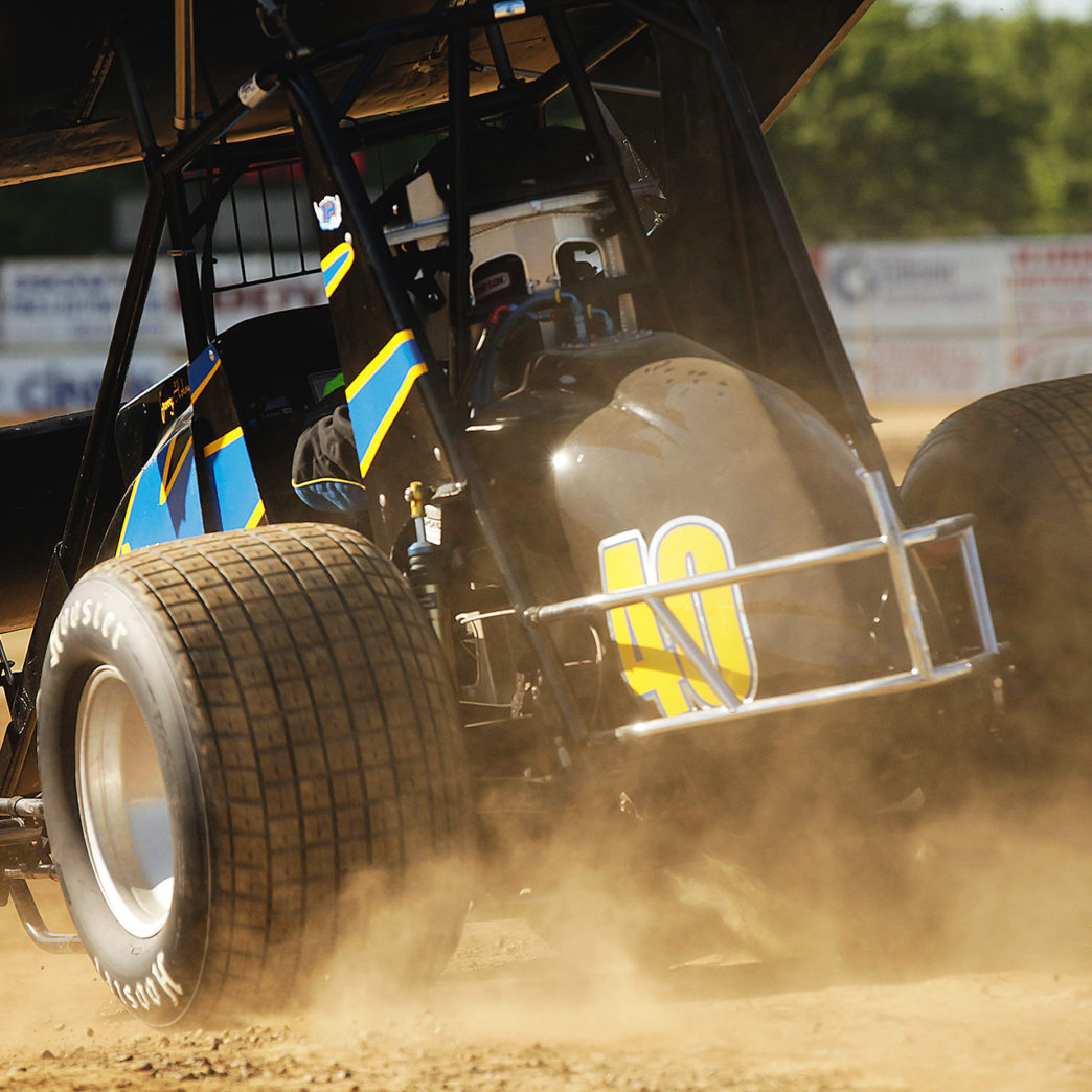 George Hobaugh Jr. launches onto the track for qualifying at Sharon Speedway on Tuesday night for Ohio Speedweek with the ASCoC. ( Jeffrey Turford / TDP )