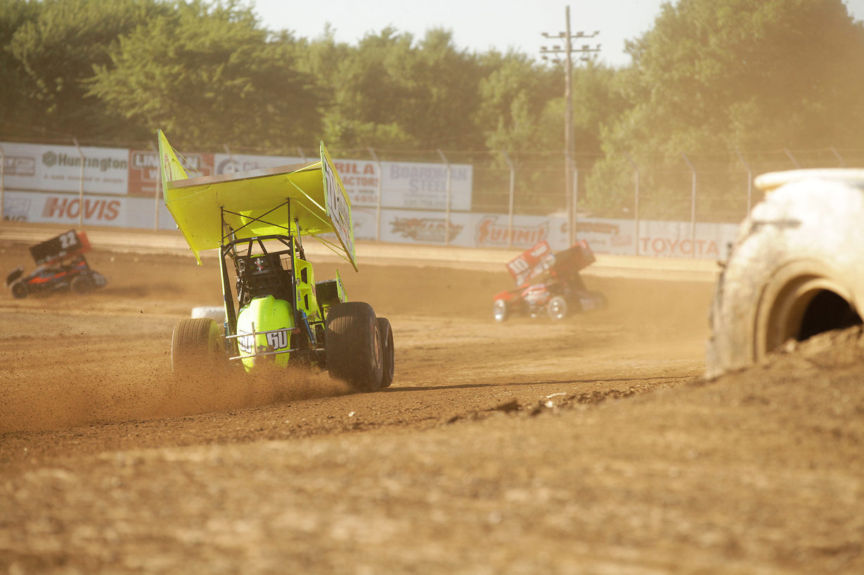 Kory Crabtree on the gas coming out of turn 3 during hot laps on Tuesday at Sharon Speedway. ( Jeffrey Turford / TDP )