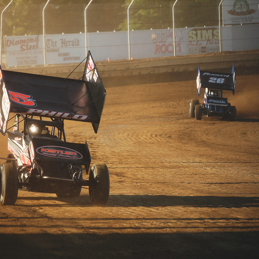 Travis Philo and Tayler Malsam on the gas during hot laps at Sharon Speedway. ( Jeffrey Turford / TDP )