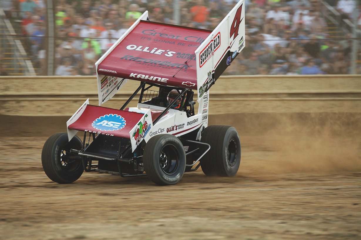 Kasey Kahne leans hard into turn 1 at Sharon Speedway with the ASCoC. Kahne ran 5th in his heat and was able to win the B Feature to transfer to the A Feature event at Sharon Speedway. ( Jeffrey Turford / TDP )