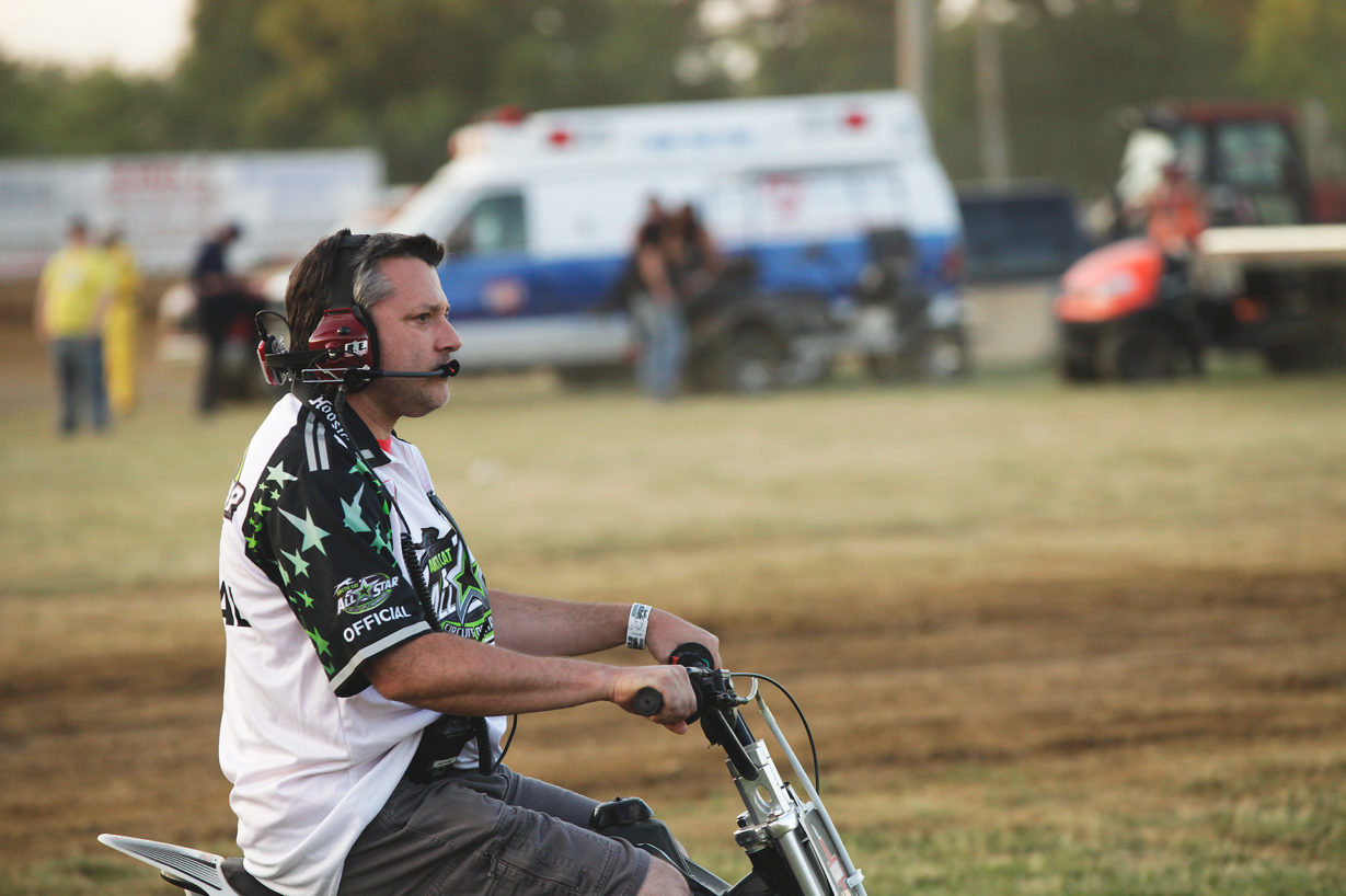Tony Stewart keeping an eye on things during the ASCoC event on Tuesday. Stewart was all over the place Tuesday night at Sharon Speedway making sure Ohio Speedweek ran smoothly. ( Jeffrey Turford / TDP )
