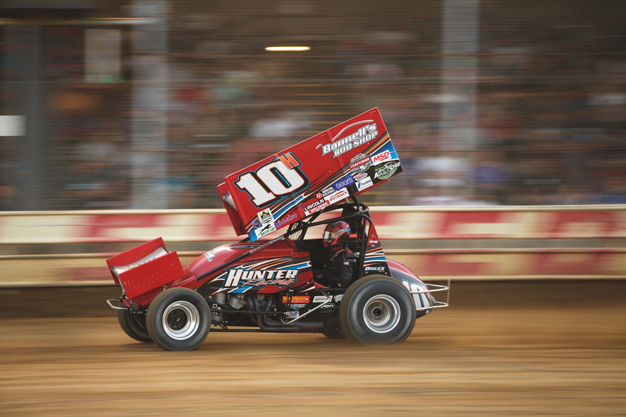 Chad Kemenah finds SPEED at Sharon Speedway during Ohio Speedweek with The All Star Circuit of Champions in June. Kemenah was looking good early on, winning his heat, but a wreck in the Feature caused him to go home empty handed. ( Jeffrey Turford / TDP )