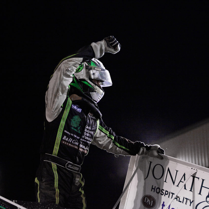 Bryan Clauson celebrates the Feature win at Sharon Speedway with The ASCoC. Clauson started 4th and led most of the race to win the Feature. ( Jeffrey Turford / TDP )