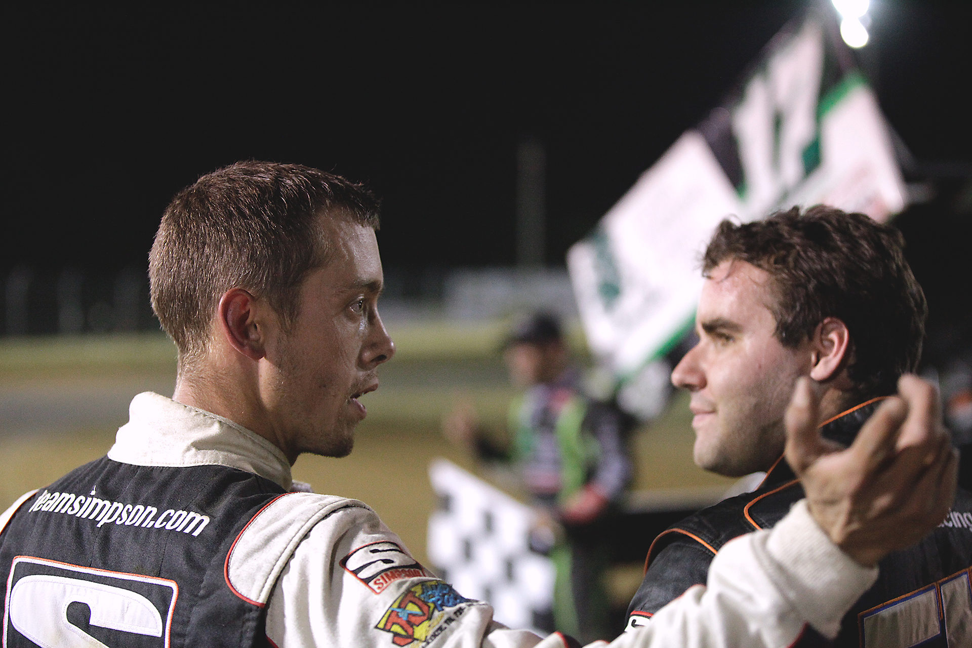 3rd place; Danny Holtgraver and runner-up; Cap Henry do the post-race review before congratulating Bryan Clauson on the Feature win at Sharon Speedway with The All Star Circuit of Champions. ( Jeffrey Turford / TDP )