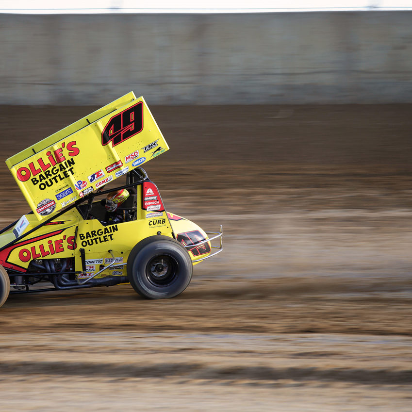 Brad Sweet in the 49 Ollie's Bargain Oulets car running his heat at Lawrenceburg Speedway. Sweet finished 4th in his heat at Lawrenceburg Speedway to advance to The A Feature with The Craftsman World of Outlaws series. ( Jeffrey Turford / TDP )