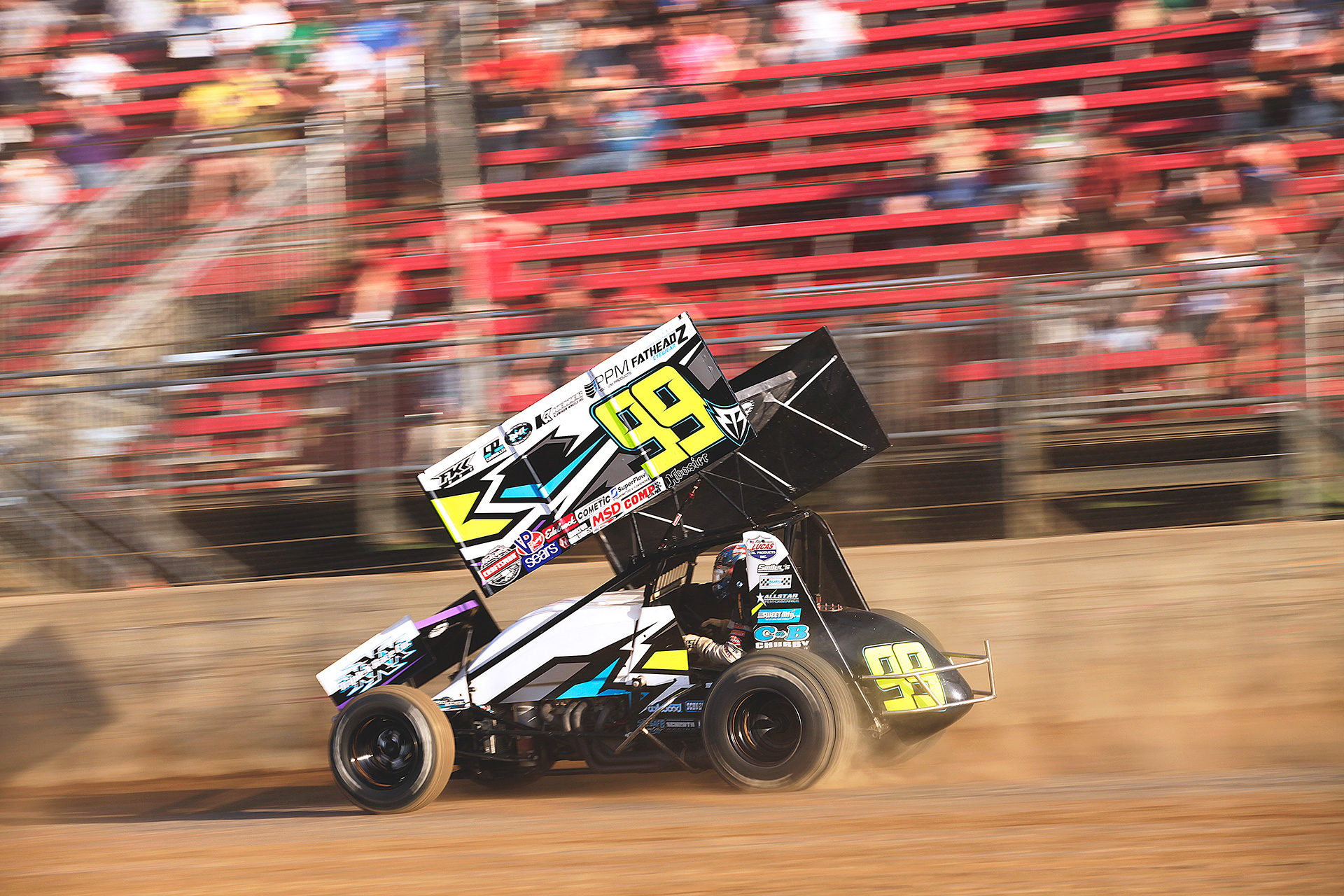Brady Bacon finished 4th in his heat to transfer to the A Main where he would place 11th. ( Jeffrey Turford / TDP )