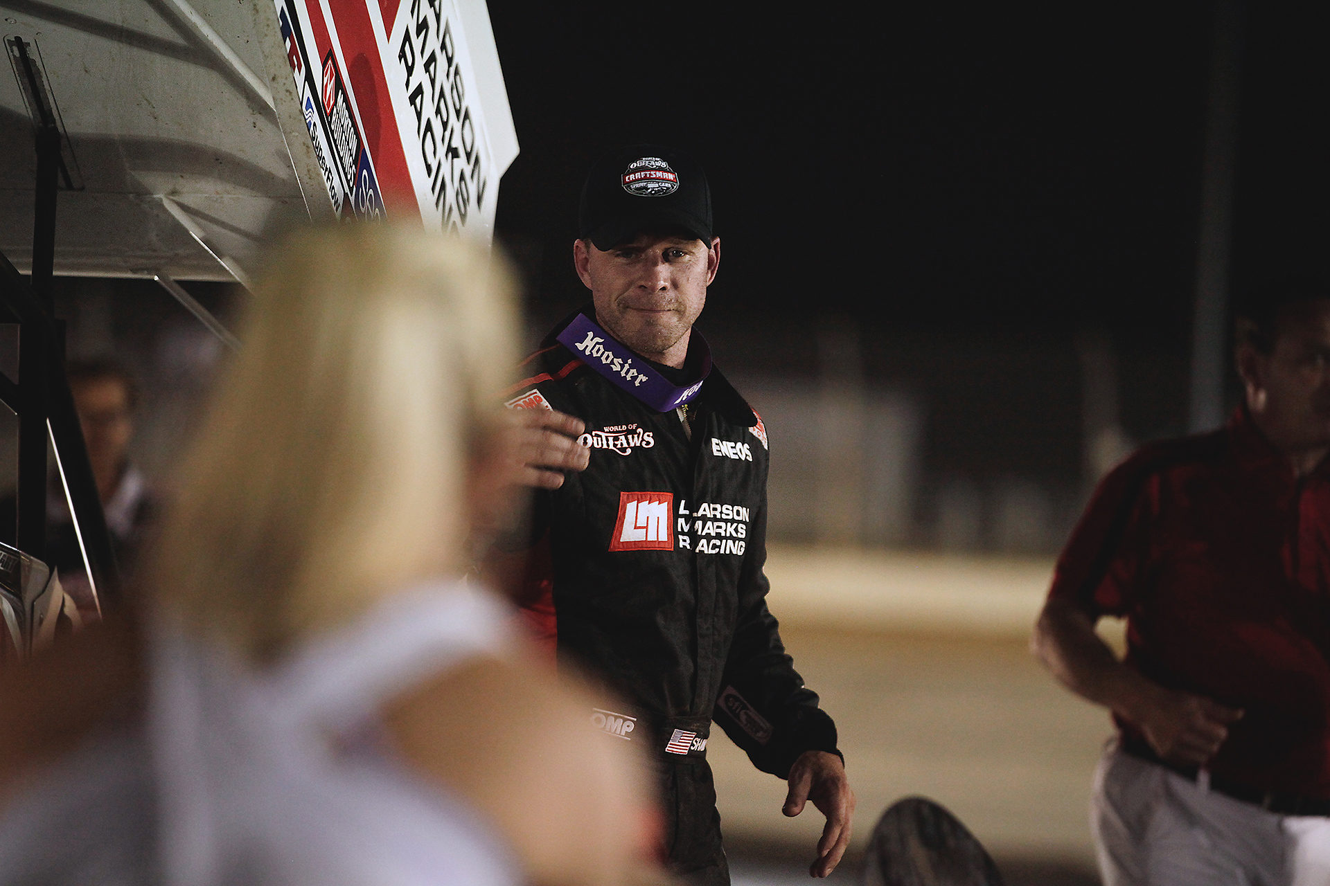 Shane Stewart welcomes his family to join him in victory circle after winning The World of Outlaws series race at Lawrenceburg Speedway, IN. ( Jeffrey Turford / TDP )