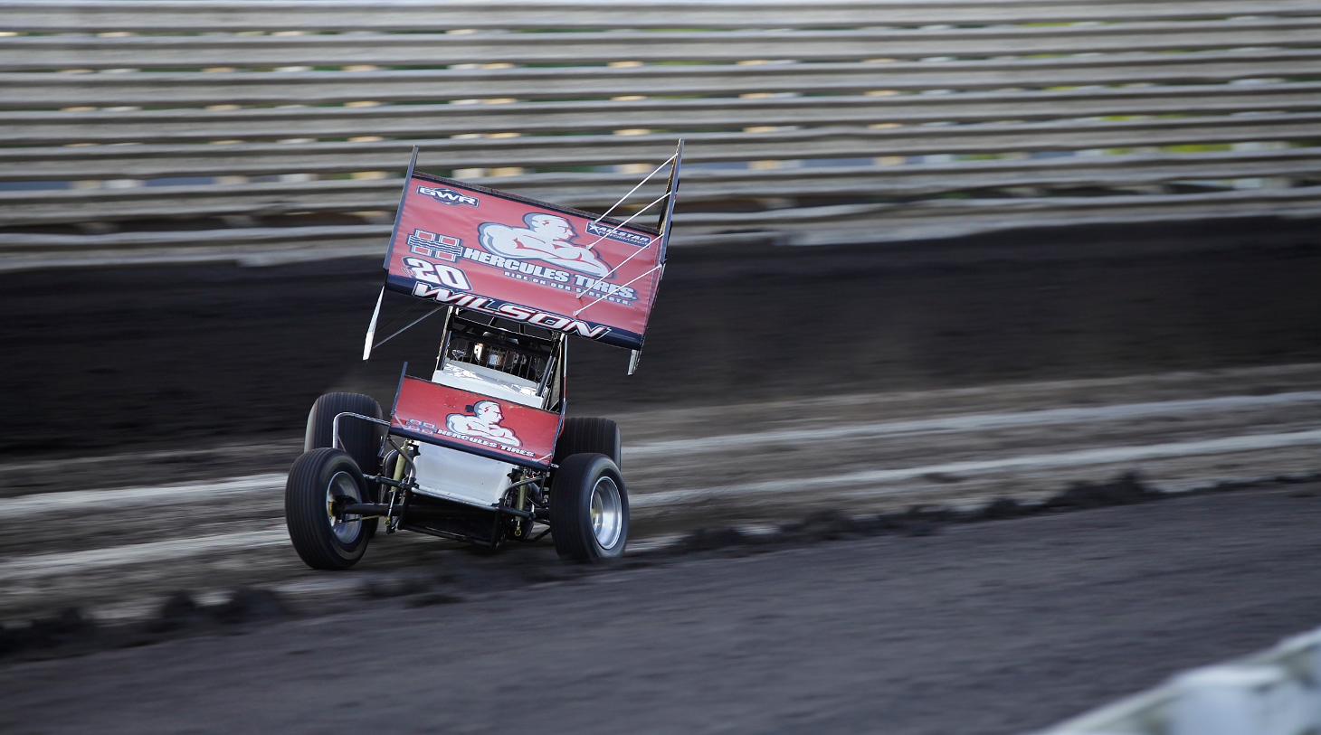 Greg Wilson captured his World of Outlaws feature win at Eldora Speedway in 2014. (Jeffrey Turford / TDP)