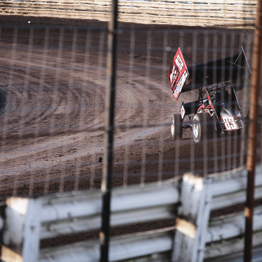 """""""The Brownsburg Bullet"""" Joey Saldana dropping a time trial lap. Joey Saldana qualified 9th quickest with The World of Outlaws Saturday at Knoxville Raceway. ( Jeffrey Turford / TDP )"""