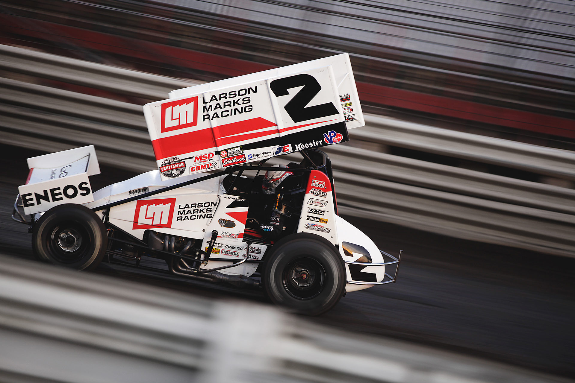 Shane Stewart running his heat on Saturday at Knoxville Raceway. Shane Stewart was fast all weekend in The Larson-Marks 2 and made impressive charges from the back on both nights. ( Jeffrey Turford / TDP )