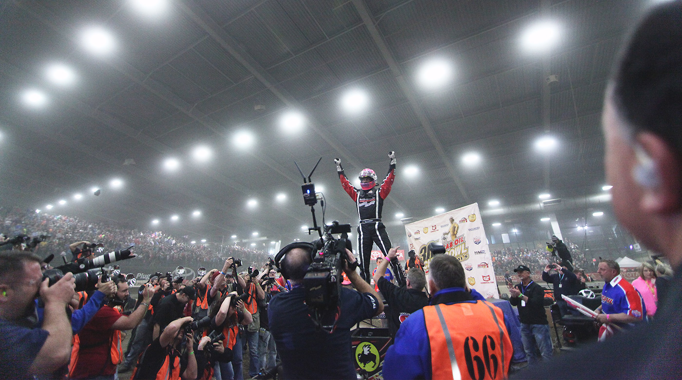 Bryan Clauson celebrates the Friday night Feature win in victory lane at the 2016 Chili Bowl. Clauson would later capture 2nd in the marquee event on Saturday night. (Jeffrey Turford / TDP)