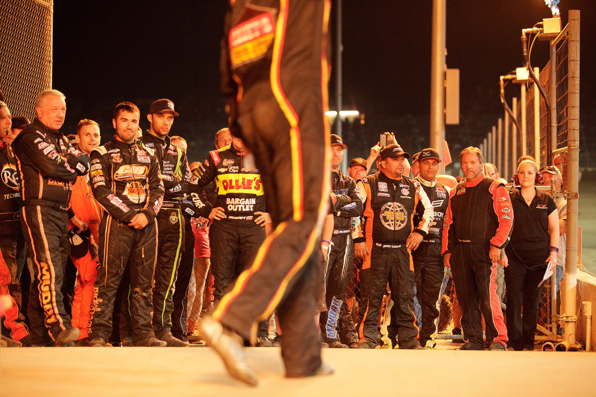 Brian Brown is introduced among the other starters of the 33rd Annual Kings Royal at Eldora Speedway. ( Jeffrey Turford / TDP )