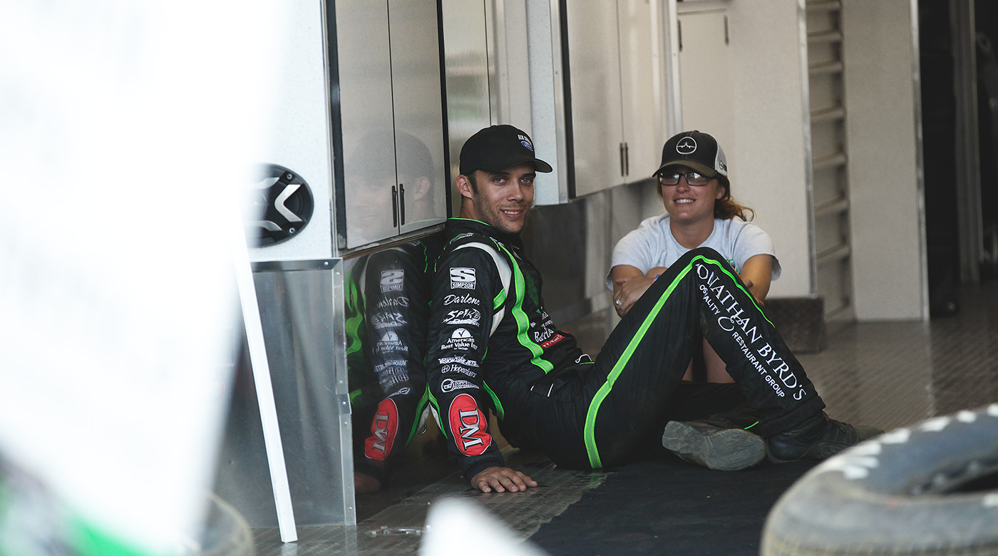 Bryan and fiance Lauren Stewart relax before Bryan's first career All Star win at Sharon Speedway in 2016. (Jeffrey Turford / TDP)