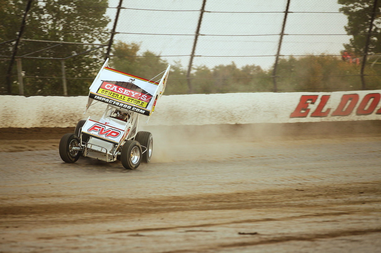 Brian Brown on the gas out of turn 2 at Eldora Speedway. Brown started 1st and finished 1st in his heat to transfer to the Kings Royal feature at Eldora Speedway. ( Jeffrey Turford / TDP )