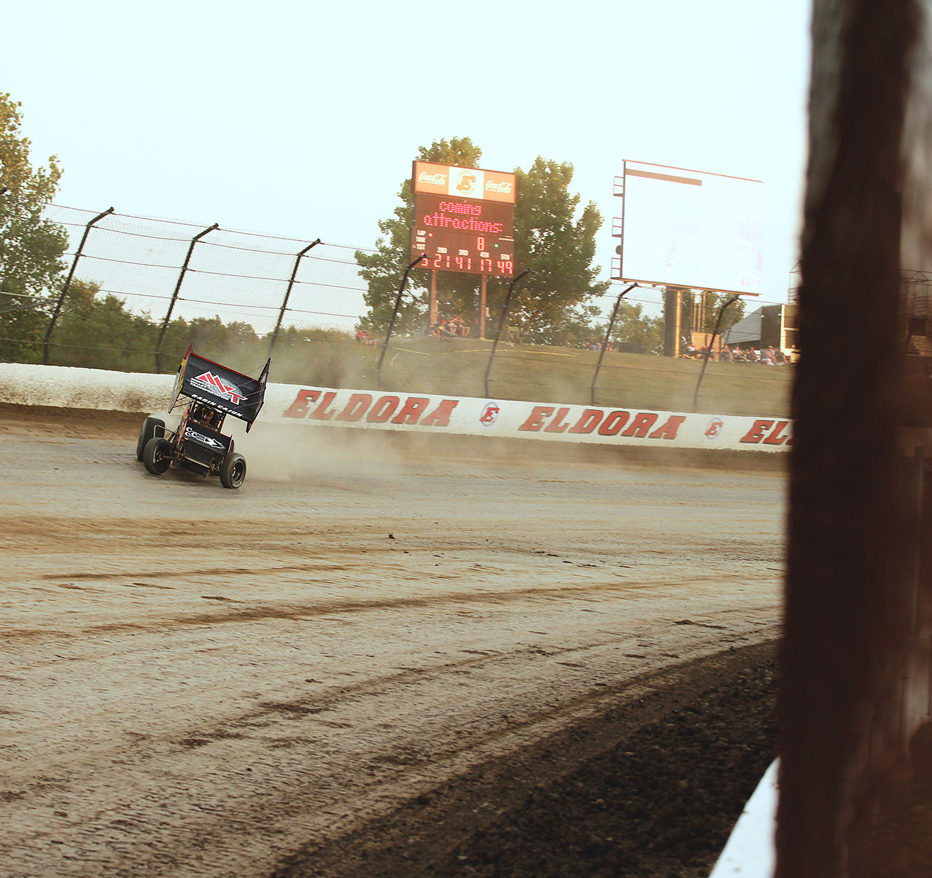 Jason Johnson on the hammer through turn 2 at Eldora Speedway. Johnson transferred from his heat the Kings Royal feature were he would place 8th with The World of Outlaws on Saturday night. ( Jeffrey Turford / TDP )