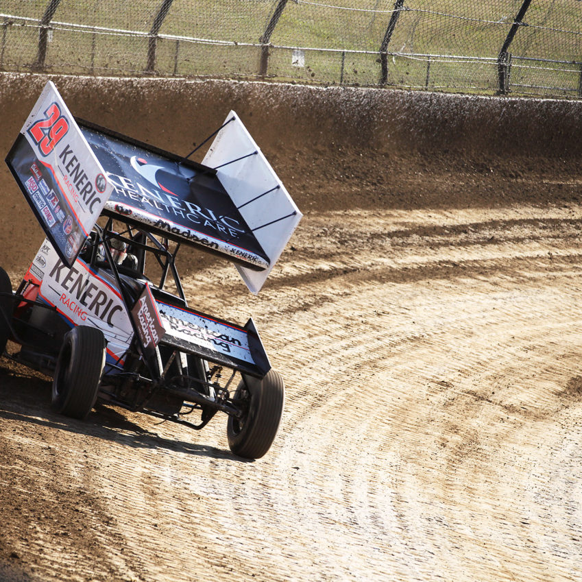 Kerry Madsen on the gas out of turn 2 during qualifying at Eldora Speedway. Madsen time trialed fastest at The 33rd Annual Kings Royal. ( Jeffrey Turford / TDP )