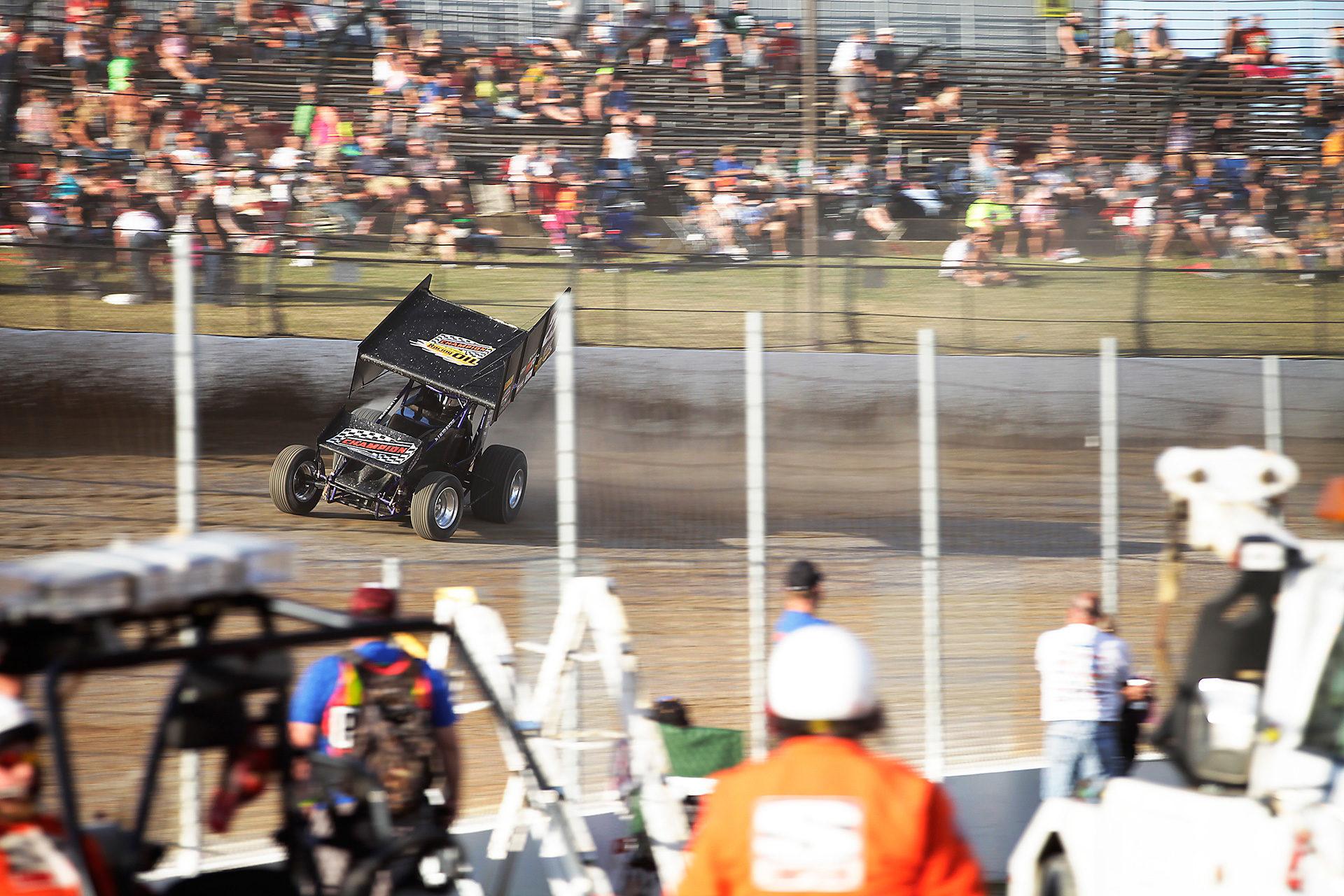 Trey Starks qualifying at Eldora Speedway. Starks time trialed 6th fastest for The Kings Royal at Eldora Speedway. ( Jeffrey Turford / TDP )