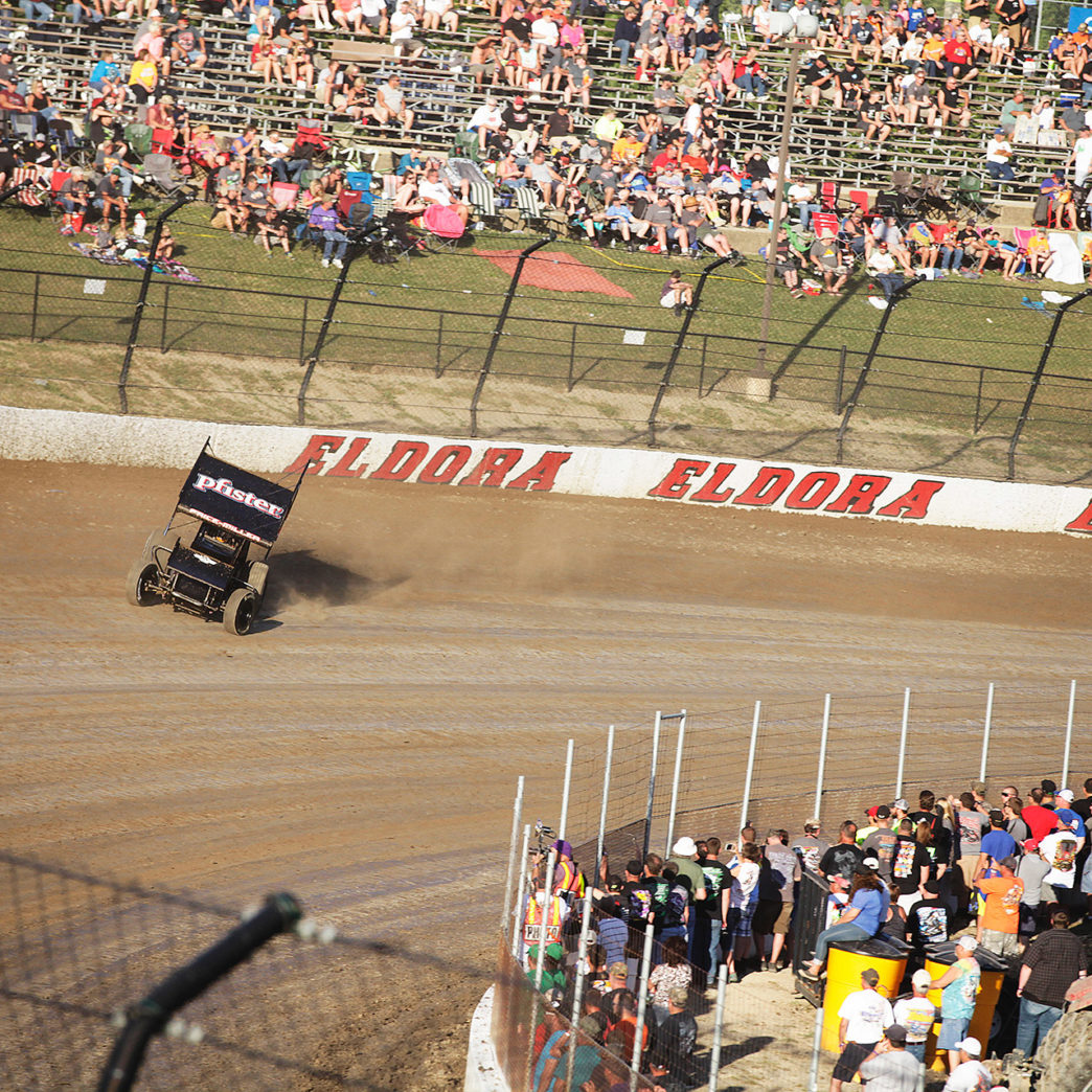 Parker Price-Miller on the gas around turn 3 at Eldora. Price-Miller and the no. 2X during time trials for The 2016 Kings Royal at Eldora Speedway. ( Jeffrey Turford / TDP )