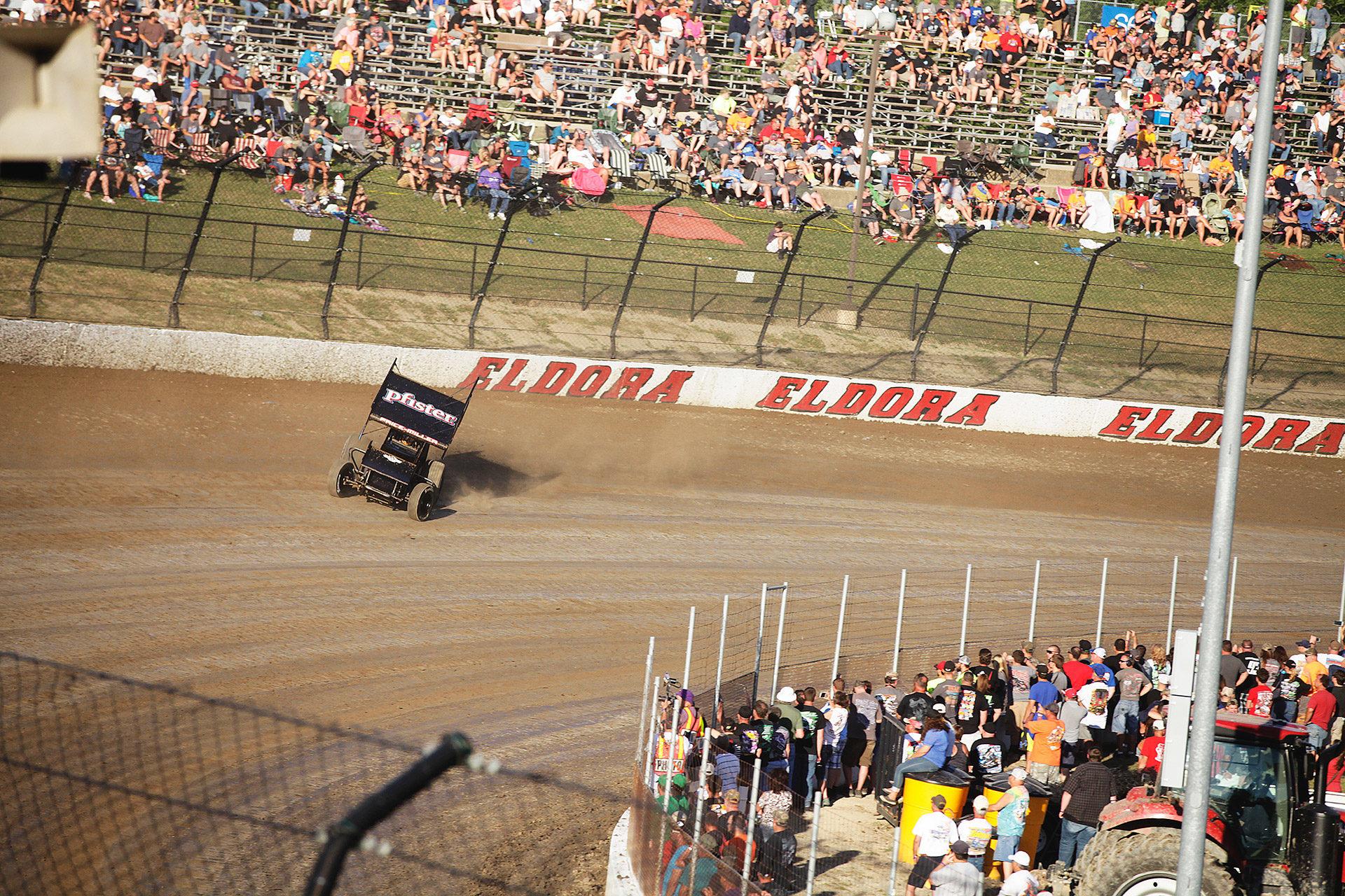 Parker Price-Miller on the gas around turn 3 at Eldora. Price-Miller and the no. 2X during time trials for The 2016 Kings Royal at Eldora Speedway. ( Jeffrey Turford / TDP )