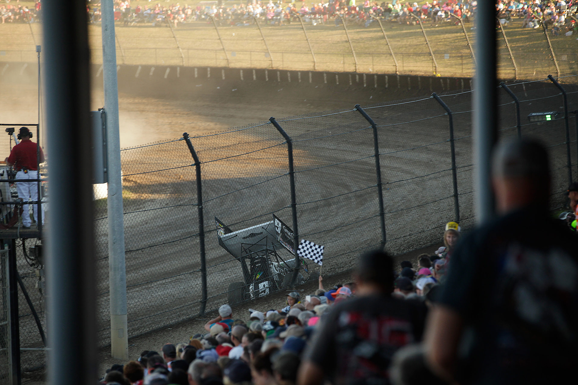 Daryn Pittman qualifying at Eldora Speedway. Pittman qualified 20th fastest in qualifying. He transferred through his heat and scored the Hard Charger award, having climbed from 23rd to 7th in The 33rd Annual Kings Royal. ( Jeffrey Turford / TDP )