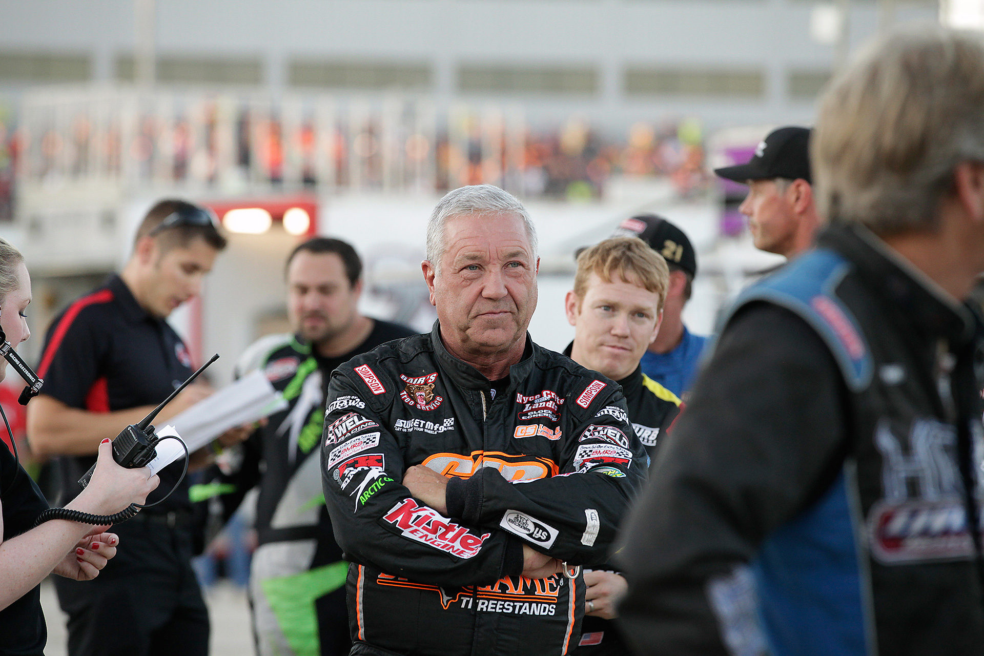 Sammy Swindell cues up for driver introductions at The 2016 Kings Royal. Swindell came away with a 12th place finish at The 33rd Annual Kings Royal after winning his heat earlier in the day. ( Jeffrey Turford / TDP )