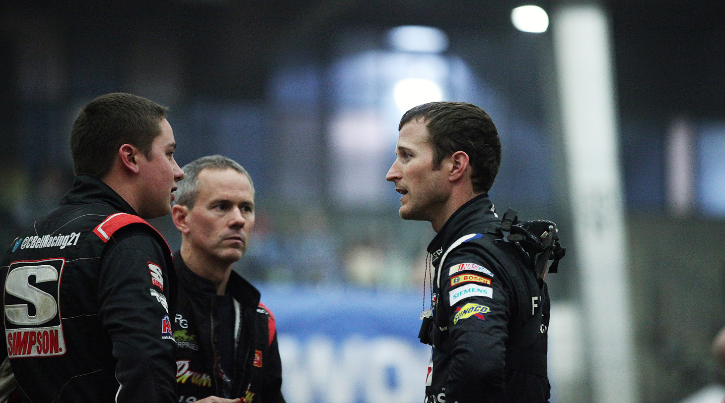 Christopher Bell, Jerry Coons Jr and Kasey Kahne infield at The 2016 Chili Bowl. (Jeffrey Turford / TDP)
