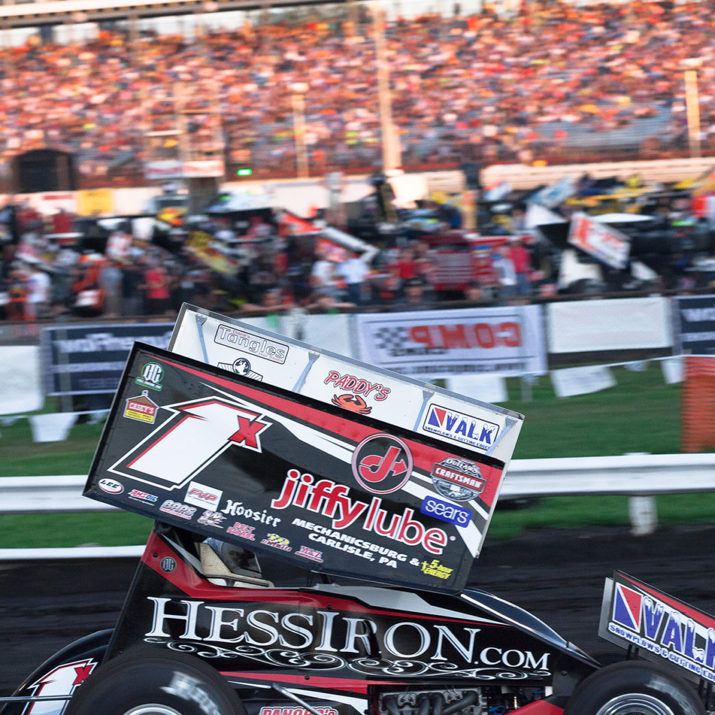 Chad Trout in Group A time trials among a packed 77 car field on day 3 of The 2016 Knoxville Nationals in Knoxville, Iowa. ( Jeffrey Turford / TDP )