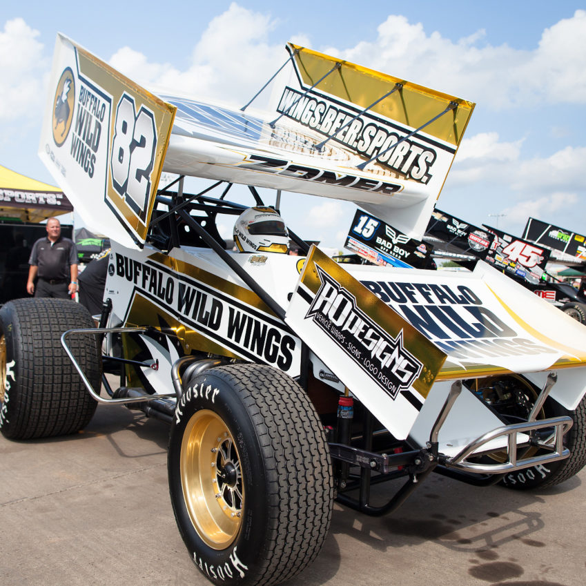 no. 82 Dusty Zomer wins Best Appearing Car with a new gold paintjob at The Knoxville Nationals. ( Jeffrey Turford / TDP )