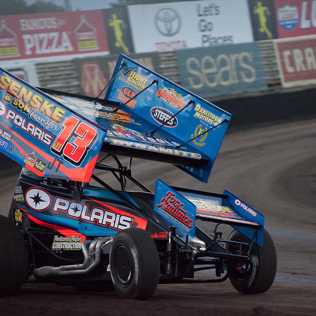 Mark Dobmeier on the gas through turn 4 at The Knoxville Nationals. ( Jeffrey Turford / TDP )