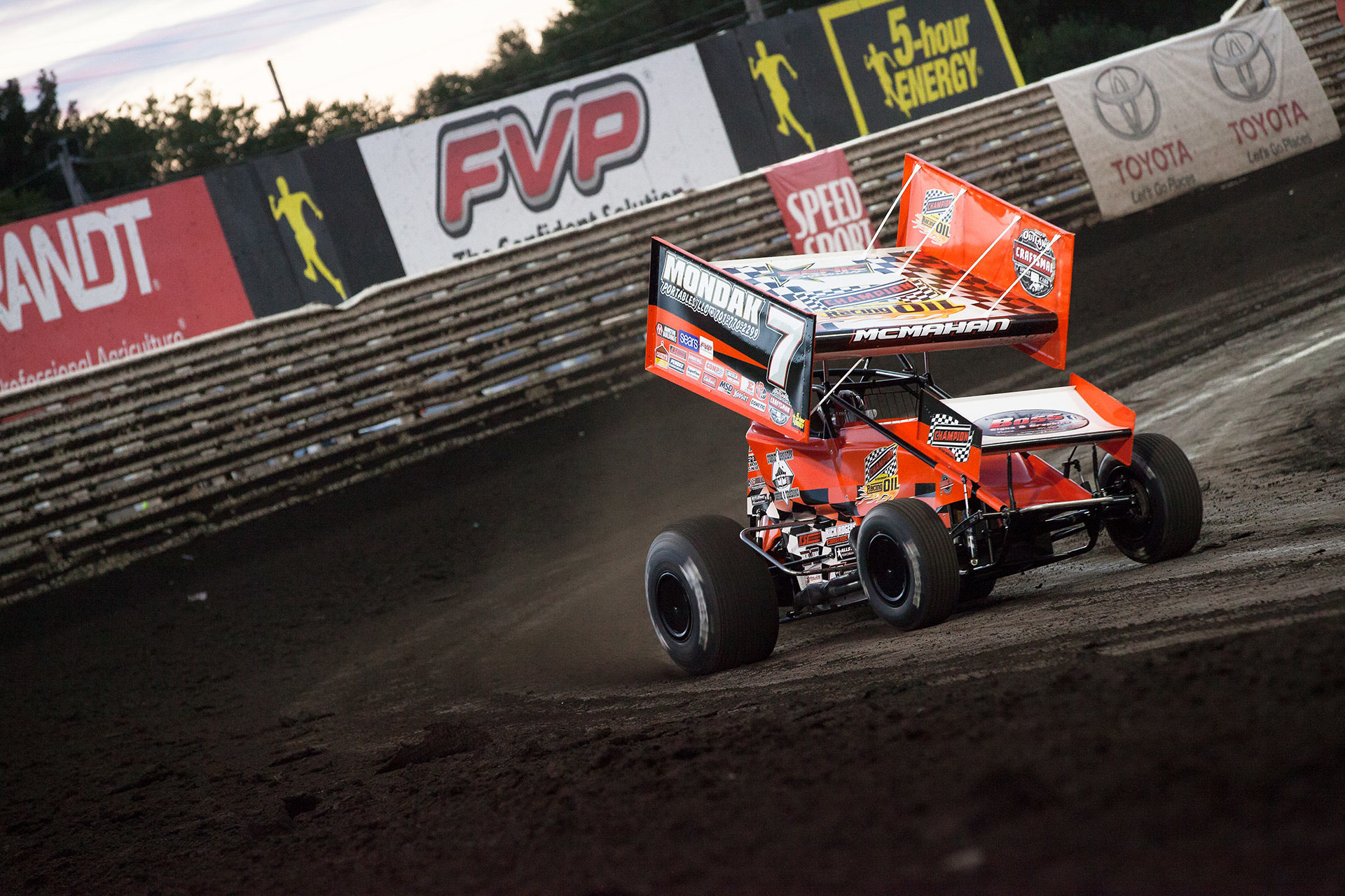 Paul McMahan on the gas out of turn 4 at Knoxville Raceway in Knoxville, Iowa. ( Jeffrey Turford / TDP )