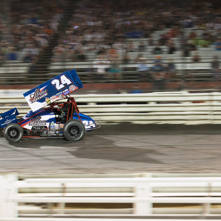Rico Abreu in the lead –on the final lap of the A Main, on day 3 of The 2016 Knoxville Nationals. ( Jeffrey Turford / TDP )